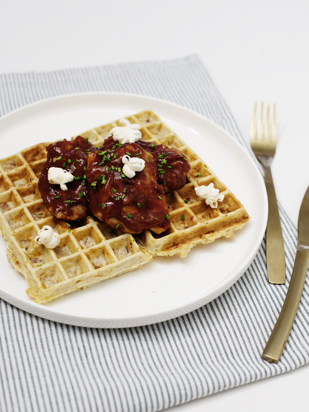 BBQ CHICKEN WAFFLES